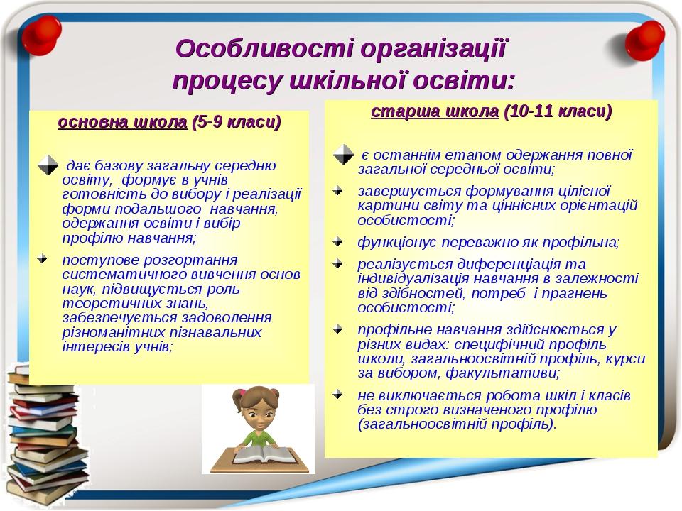 Особливості організації процесу шкільної освіти: основна школа (5-9 класи) да...