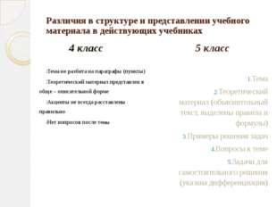Различия в структуре и представлении учебного материала в действующих учебник