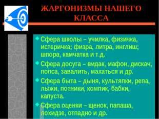 ЖАРГОНИЗМЫ НАШЕГО КЛАССА Сфера школы – училка, физичка, истеричка; физра, лит