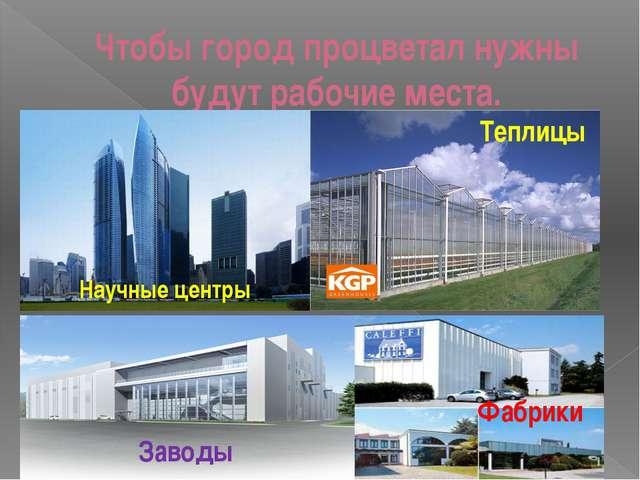 Чтобы город процветал нужны будут рабочие места. Научные центры Заводы Фабрик...
