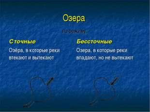Озера  по режиму  Сточные Озёра, в которые реки втекают и вытекают Бессто