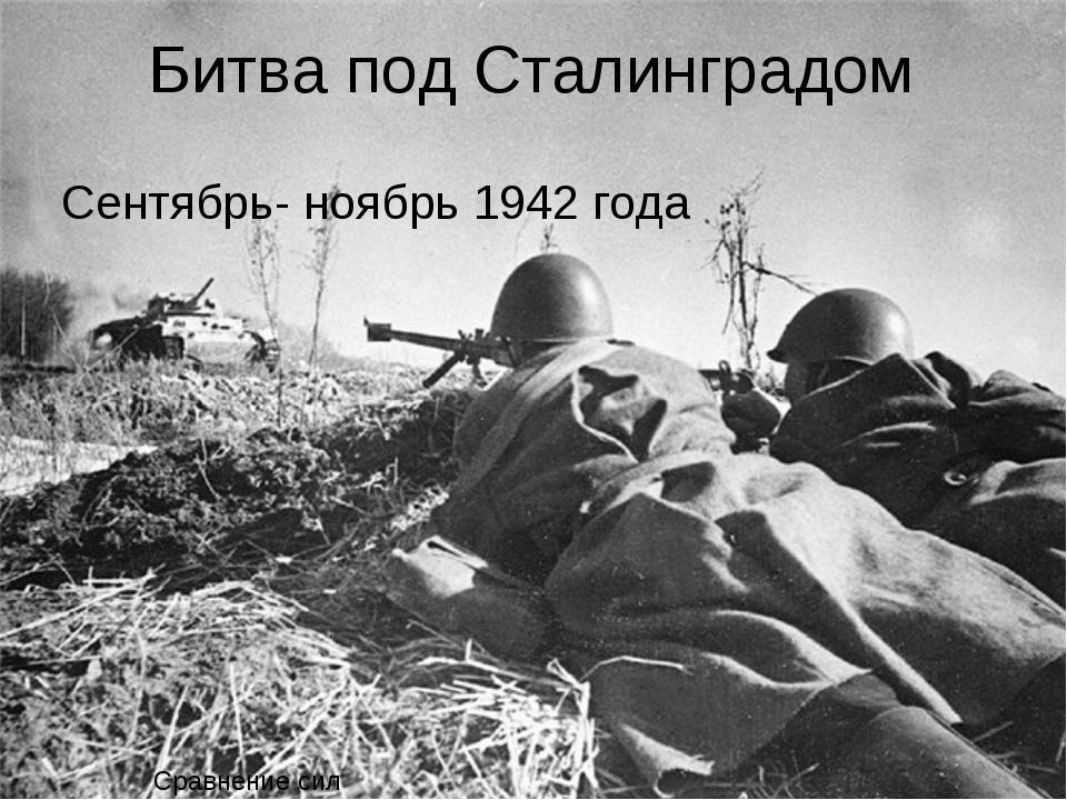 Битва под Сталинградом Сентябрь- ноябрь 1942 года Сравнение сил