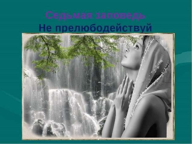 Седьмая заповедь Не прелюбодействуй