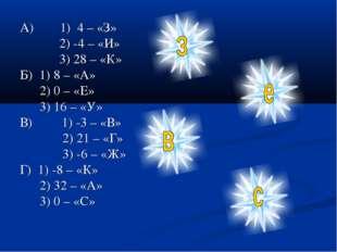 А) 1) 4 – «З» 2) -4 – «И» 3) 28 – «К» Б) 1) 8 – «А» 2) 0 – «Е» 3) 16 – «У» В)