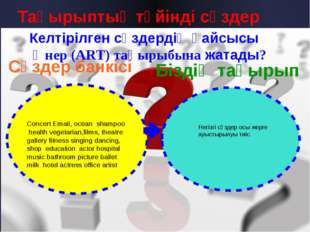 Тақырыптық түйінді сөздер Келтірілген сөздердің қайсысы Өнер (ART) тақырыбына