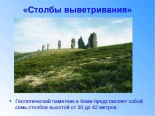 «Столбы выветривания» Геологический памятник в Коми представляет собой семь с
