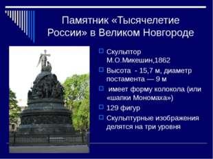 Памятник «Тысячелетие России» в Великом Новгороде Скульптор М.О.Микешин,1862