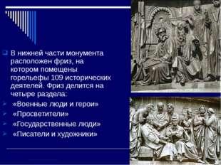 В нижней части монумента расположен фриз, на котором помещены горельефы 109 и