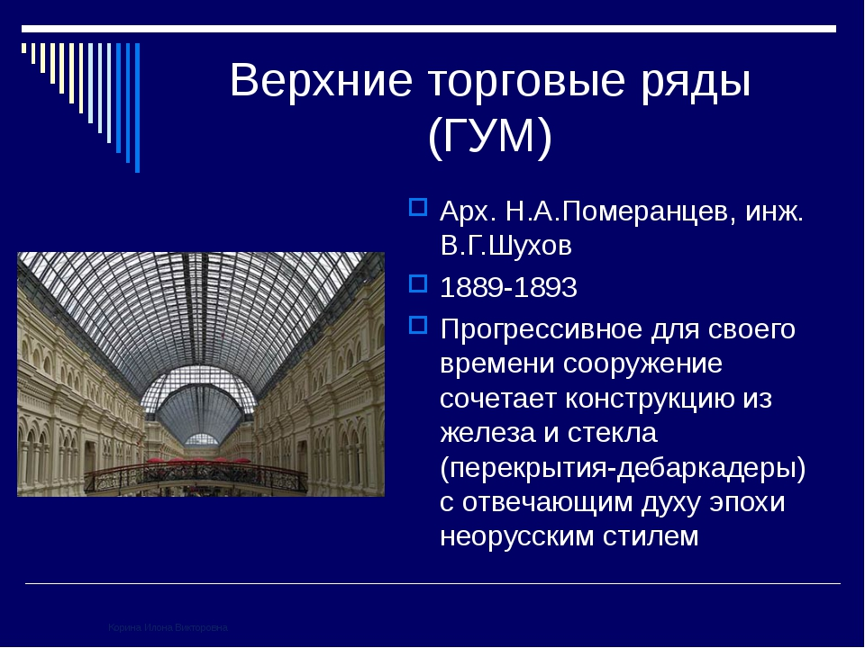 Верхние торговые ряды (ГУМ) Арх. Н.А.Померанцев, инж. В.Г.Шухов 1889-1893 Про...