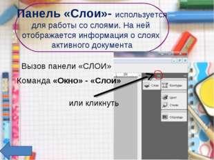 Панель «Слои»- используется для работы со слоями. На ней отображается информа