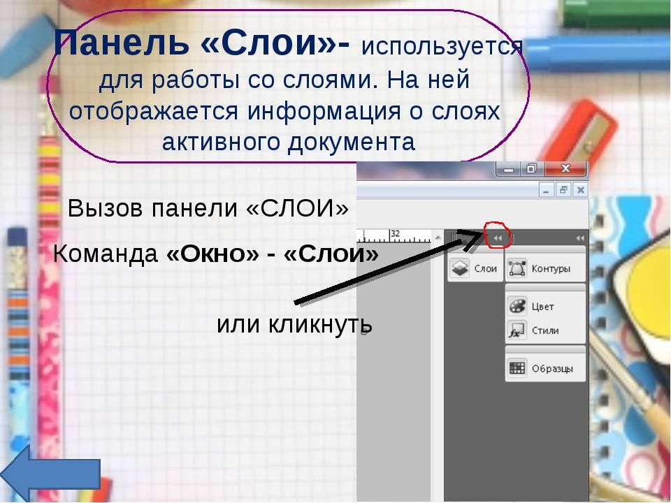 Панель «Слои»- используется для работы со слоями. На ней отображается информа...