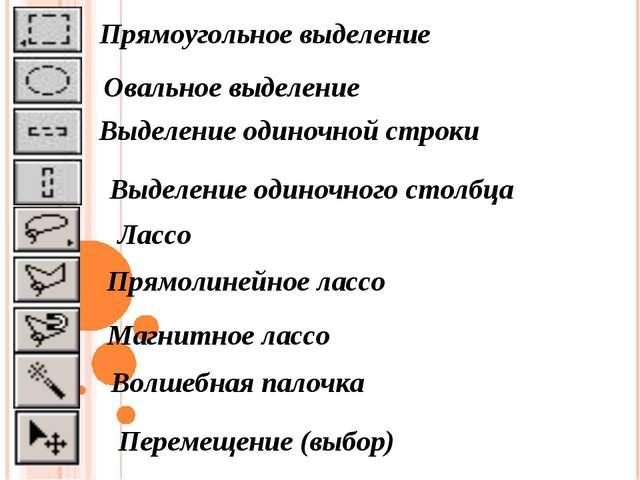 Прямоугольное выделение Овальное выделение Выделение одиночной строки Выделен...