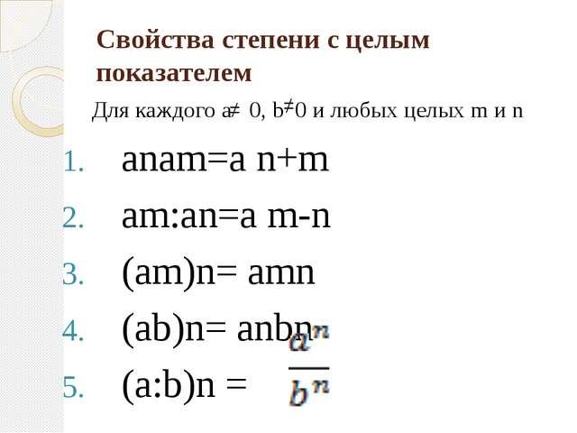 Свойства степени с целым показателем Для каждого а 0, b 0 и любых целых m и n...