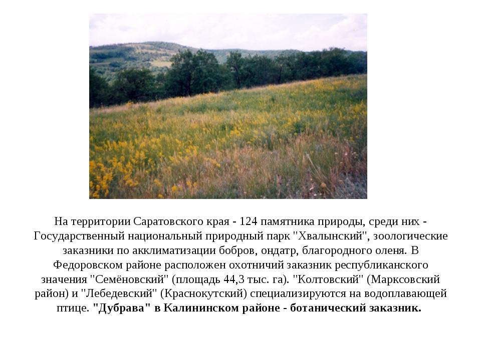 На территории Саратовского края - 124 памятника природы, среди них - Государс...