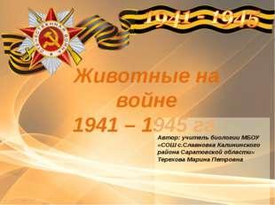 Животные на войне 1941 – 1945 гг. 2015 год Автор: учитель биологии МБОУ «СОШ