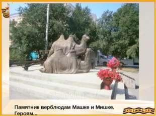 Памятник верблюдам Машке и Мишке. Героям...