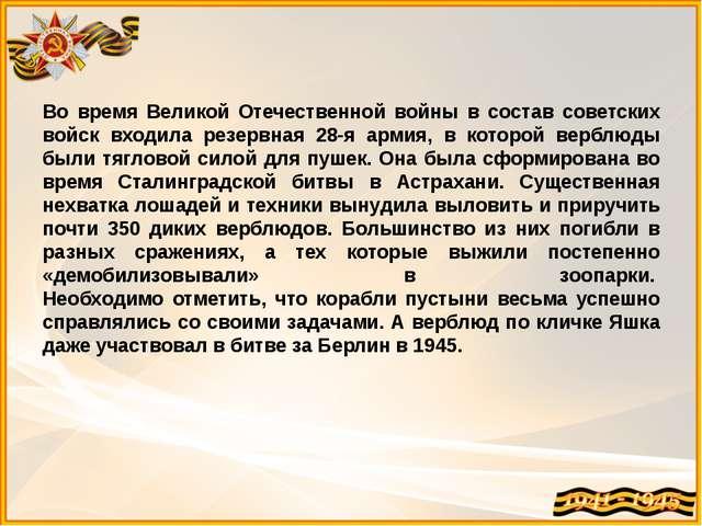 Во время Великой Отечественной войны в состав советских войск входила резервн...