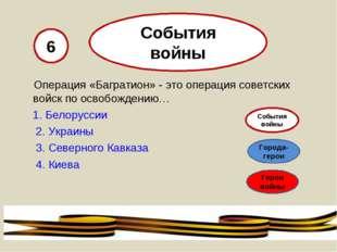 Операция «Багратион» - это операция советских войск по освобождению… 1. Бело