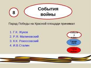 Парад Победы на Красной площади принимал 1. Г.К. Жуков 2. Р.Я. Малиновский 3