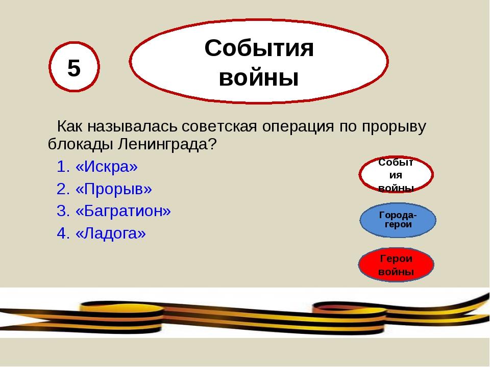 Как называлась советская операция по прорыву блокады Ленинграда? 1. «Искра»...