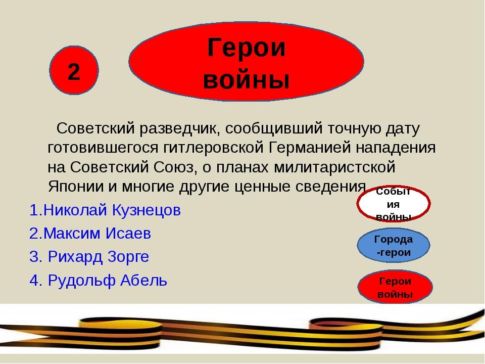 Герои войны Советский разведчик, сообщивший точную дату готовившегося гитлеро...