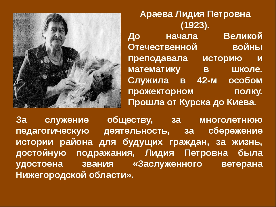 Араева Лидия Петровна (1923). До начала Великой Отечественной войны преподава...