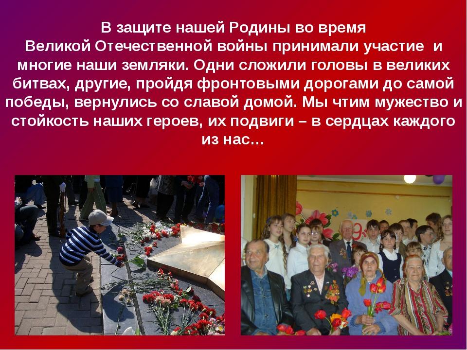 В защите нашей Родины во время Великой Отечественной войны принимали участие...