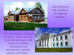 You can visit the museum of nature. There are 140 sorts of plants and 140 kin