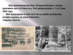 Шли кровопролитные бои. 30 апреля батареи «катюш» произвели залп по Рейхстаг