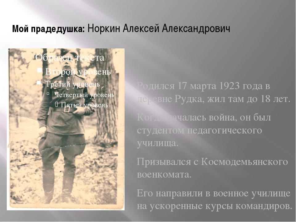 Мой прадедушка: Норкин Алексей Александрович Родился 17 марта 1923 года в дер...