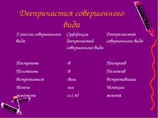 Деепричастия совершенного вида Глаголы совершенного видаСуффиксы деепричасти
