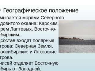 Географическое положение -Омывается морями Северного Ледовитого океана: Карск