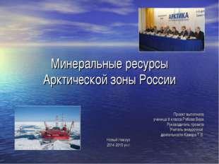 Минеральные ресурсы Арктической зоны России Проект выполнила ученица 8 класса