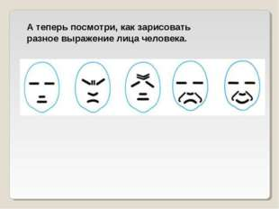 А теперь посмотри, как зарисовать разное выражение лица человека.
