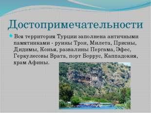 Достопримечательности Вся территория Турции заполнена античными памятниками -