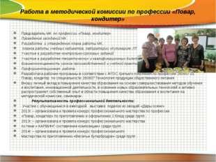 Работа в методической комиссии по профессии «Повар, кондитер» Председатель МК