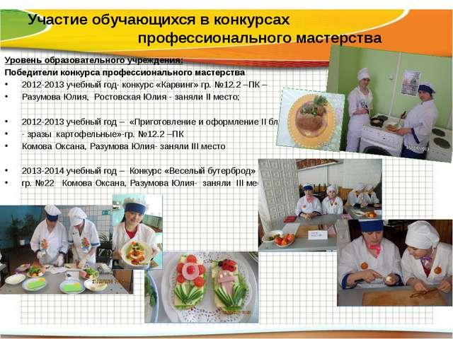 Участие обучающихся в конкурсах профессионального мастерства Уровень образова...