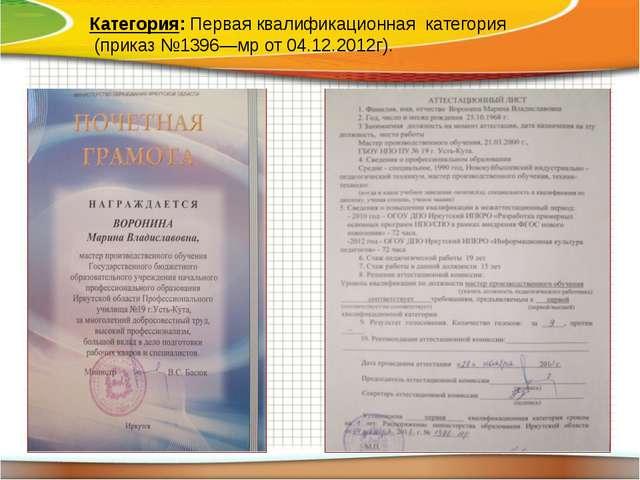 Категория: Первая квалификационная категория (приказ №1396—мр от 04.12.2012г).