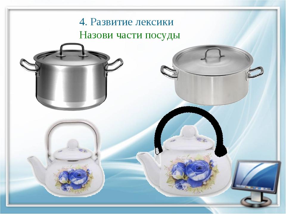 4. Развитие лексики Назови части посуды