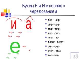 Буквы Е и И в корнях с чередованием бер- - бир- дер- -дир- мер- -мир- пер- -п