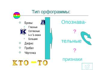 Тип орфограммы: Буквы: Гласные Согласные Ь и Ъ знаки Большие Дефис Пробел Чёр