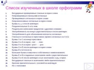 Список изученных в школе орфограмм Безударные проверяемые гласные в корне сло