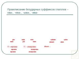 Правописание безударных суффиксов глаголов –ова-, -ева-, -ыва-, -ива- 1. Пост