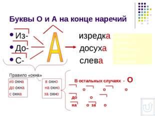 Буквы О и А на конце наречий Из- изредка До- досуха С- слева Правило «окна» и