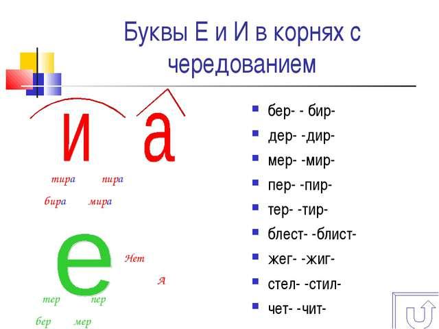 Буквы Е и И в корнях с чередованием бер- - бир- дер- -дир- мер- -мир- пер- -п...