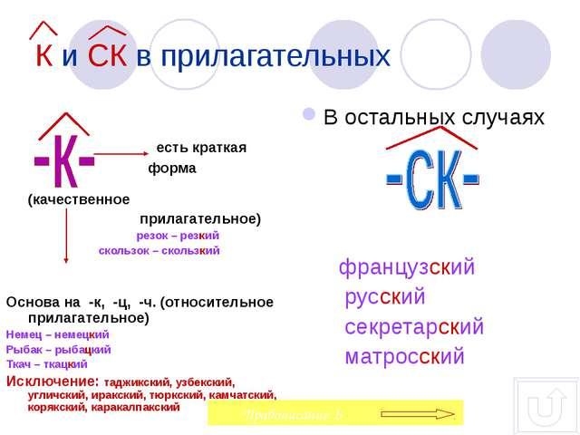 К и СК в прилагательных есть краткая форма  (качественное прилагательное) р...