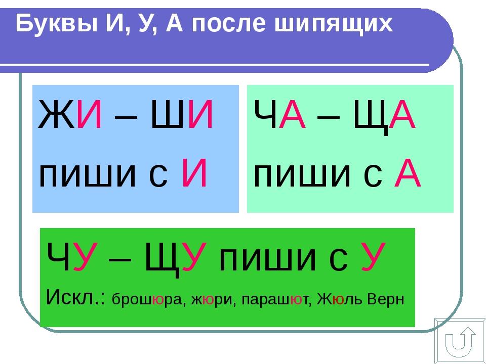 Буквы И, У, А после шипящих ЖИ – ШИ пиши с И ЧА – ЩА пиши с А ЧУ – ЩУ пиши с...
