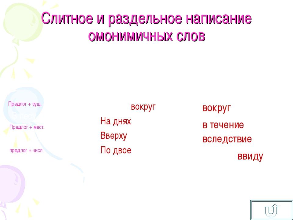 Слитное и раздельное написание омонимичных слов Самостоятельные словаСлужебн...