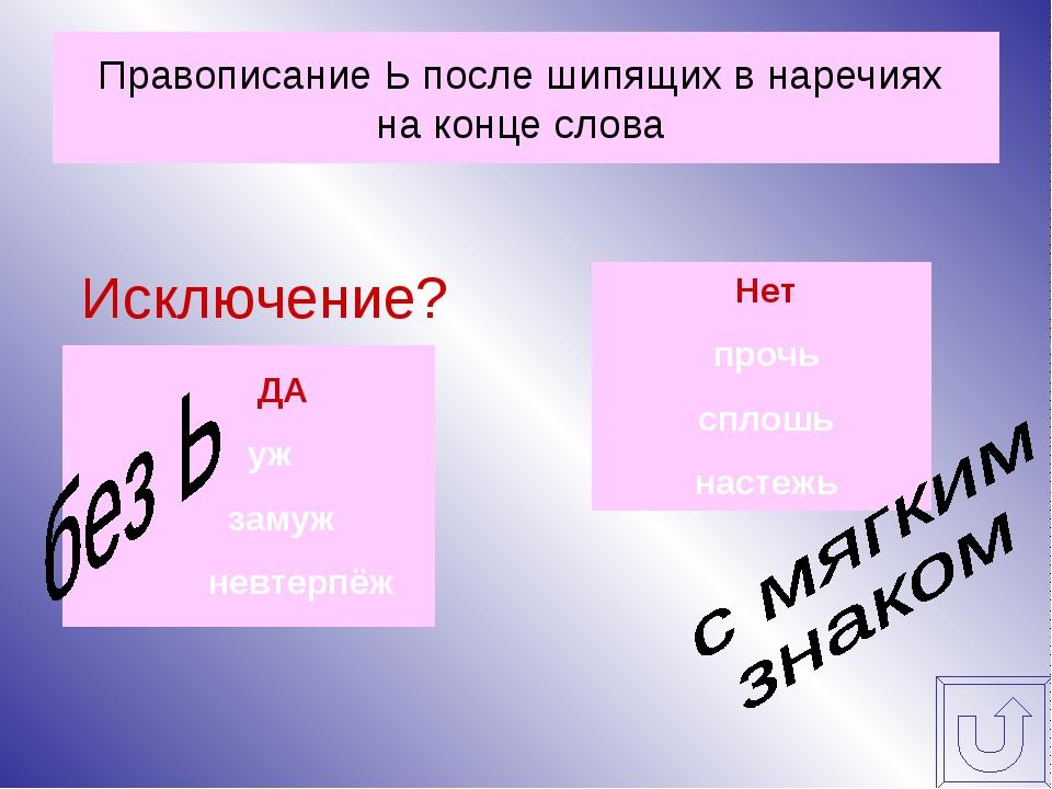 Правописание Ь после шипящих в наречиях на конце слова Исключение?