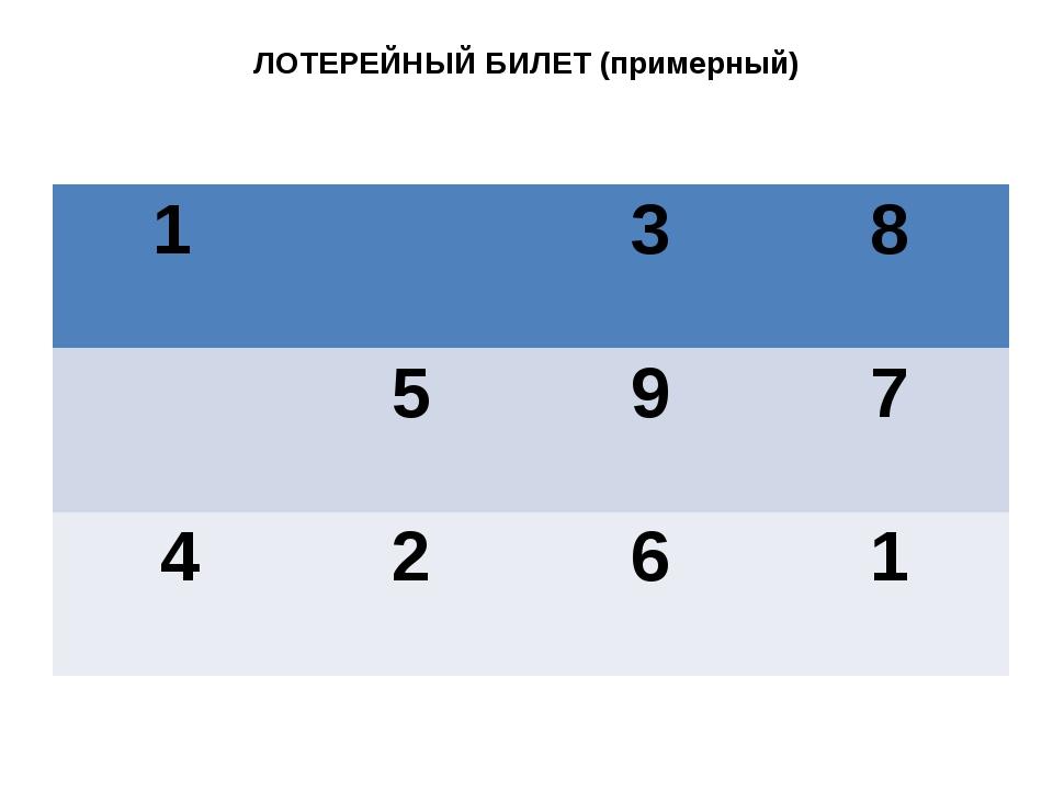 ЛОТЕРЕЙНЫЙ БИЛЕТ (примерный) 1 3 8 5 9 7 4 2 6 1